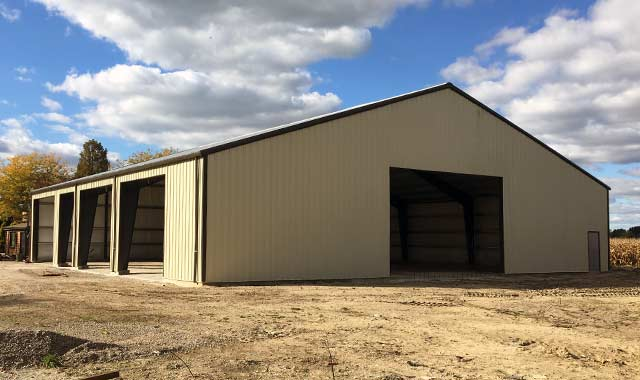 Steel garage storage building in la salle ontario for Pole barns ontario